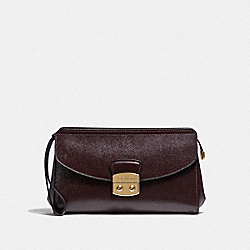 COACH F38682 Flap Clutch OXBLOOD 1/LIGHT GOLD