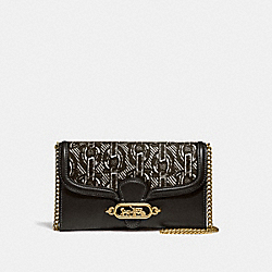 COACH F38685 - CHAIN CROSSBODY WITH CHAIN PRINT BLACK/LIGHT GOLD