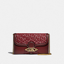 COACH F38685 Chain Crossbody With Chain Print CLARET/LIGHT GOLD