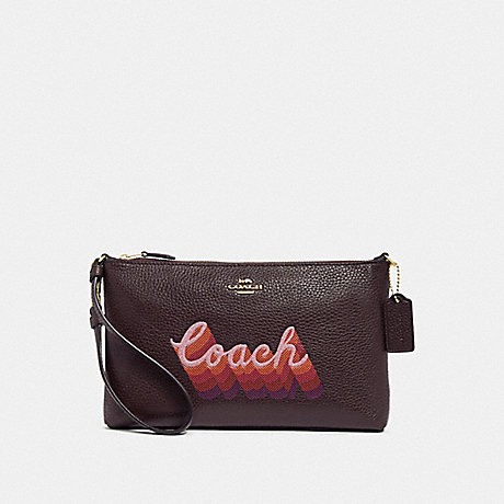 COACH F38686 LARGE WRISTLET 25 WITH NEON COACH SCRIPT OXBLOOD MULTI/LIGHT GOLD