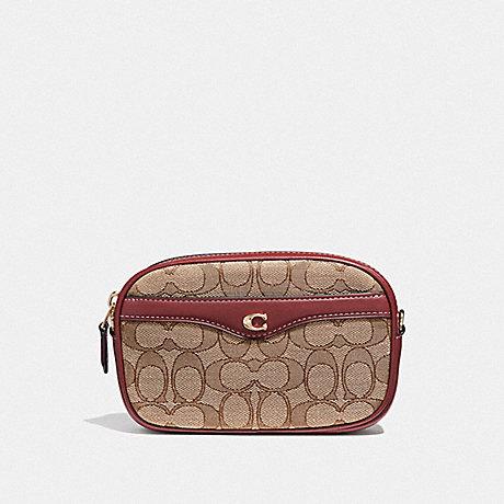 Coach F38687 Ivie Convertible Belt Bag In Signature Jacquard Khaki Wine Light Gold