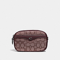 IVIE CONVERTIBLE BELT BAG IN SIGNATURE JACQUARD - F38687 - RASPBERRY/BLACK ANTIQUE NICKEL