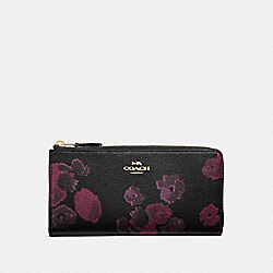 COACH F38689 L-zip Wallet With Halftone Floral Print BLACK/WINE/LIGHT GOLD