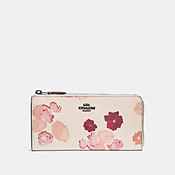 COACH F38689 - L-ZIP WALLET WITH HALFTONE FLORAL PRINT CHALK/RED/BLACK ANTIQUE NICKEL