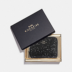 COACH F38693 - BOXED SMALL ZIP AROUND WALLET WITH STAR GLITTER BLACK/SILVER