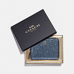 COACH F38693 - BOXED SMALL ZIP AROUND WALLET WITH STAR GLITTER MIDNIGHT/SILVER