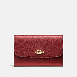 COACH F38700 Medium Envelope Wallet METALLIC CURRANT/LIGHT GOLD