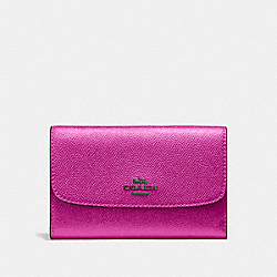 COACH F38700 Medium Envelope Wallet METALLIC CERISE/BLACK ANTIQUE NICKEL
