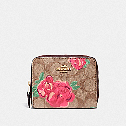 SMALL ZIP AROUND WALLET IN SIGNATURE CANVAS WITH JUMBO FLORAL PRINT - F38704 - KHAKI/OXBLOOD MULTI/LIGHT GOLD