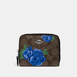 SMALL ZIP AROUND WALLET IN SIGNATURE CANVAS WITH JUMBO FLORAL PRINT - F38704 - BROWN BLACK/MULTI/SILVER