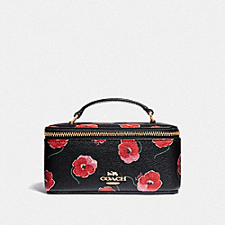 COACH F38705 Vanity Case With Poppy Print BLACK/MULTI/LIGHT GOLD
