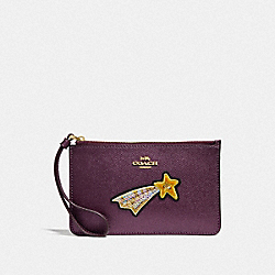 COACH F38706 Small Wristlet With Star Embellishments METALLIC RASPBERRY/LIGHT GOLD