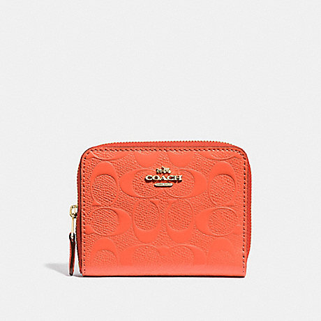 COACH F38709 SMALL ZIP AROUND WALLET IN SIGNATURE LEATHER NEON ORANGE/LIGHT GOLD
