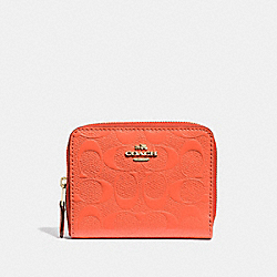 COACH F38709 - SMALL ZIP AROUND WALLET IN SIGNATURE LEATHER NEON ORANGE/LIGHT GOLD