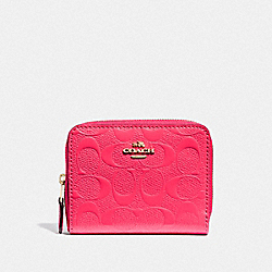 COACH F38709 Small Zip Around Wallet In Signature Leather NEON PINK/LIGHT GOLD