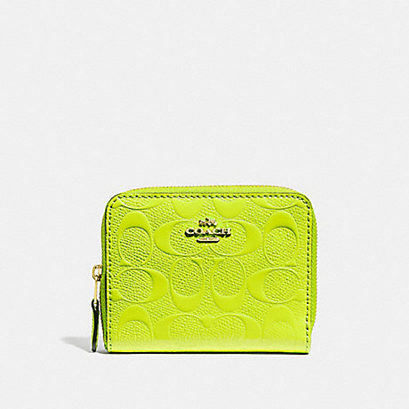 COACH F38709 SMALL ZIP AROUND WALLET IN SIGNATURE LEATHER NEON YELLOW/LIGHT GOLD