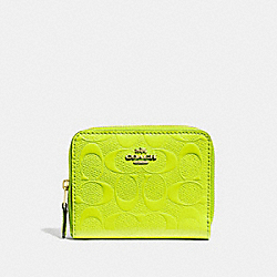 COACH F38709 - SMALL ZIP AROUND WALLET IN SIGNATURE LEATHER NEON YELLOW/LIGHT GOLD