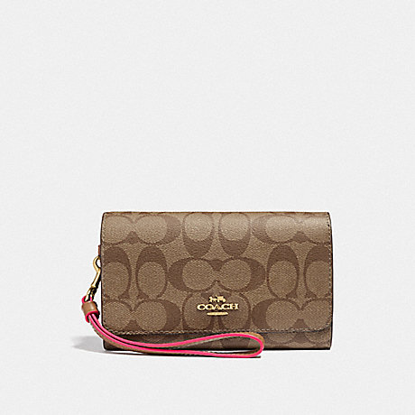 COACH F38711 FLAP PHONE WALLET IN SIGNATURE CANVAS KHAKI/NEON PINK/LIGHT GOLD
