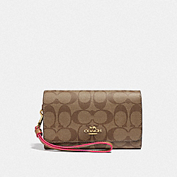 COACH F38711 - FLAP PHONE WALLET IN SIGNATURE CANVAS KHAKI/NEON PINK/LIGHT GOLD