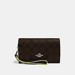 COACH F38711 - FLAP PHONE WALLET IN SIGNATURE CANVAS BROWN/NEON YELLOW/SILVER