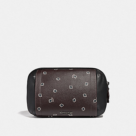 COACH F38750 GRAHAM UTILITY PACK WITH SPIKEY DIAMOND PRINT OXBLOOD MULTI/BLACK ANTIQUE NICKEL