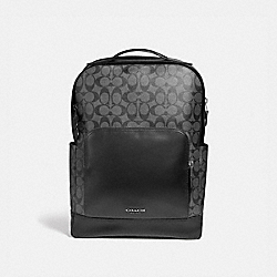 COACH F38755 - GRAHAM BACKPACK IN SIGNATURE CANVAS CHARCOAL/BLACK/BLACK ANTIQUE NICKEL