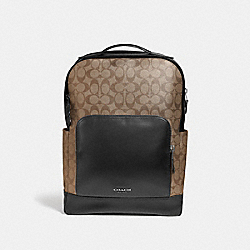 COACH F38755 Graham Backpack In Signature Canvas TAN/BLACK ANTIQUE NICKEL