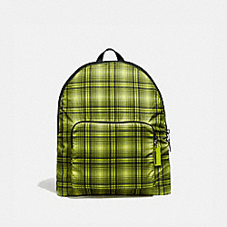 COACH F38766 Packable Backpack With Soft Plaid Print NEON YELLOW MULTI/BLACK ANTIQUE NICKEL