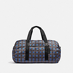 PACKABLE DUFFLE WITH PLUS PLAID PRINT - F38767 - GREY MULTI/BLACK ANTIQUE NICKEL