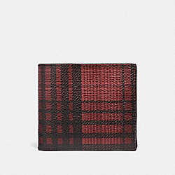 COACH F38825 - 3-IN-1 WALLET WITH TWILL PLAID PRINT RED MULTI/BLACK ANTIQUE NICKEL