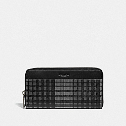 ACCORDION WALLET WITH TWILL PLAID PRINT - F38826 - GREY MULTI/BLACK ANTIQUE NICKEL