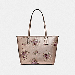 COACH F38829 City Zip Tote With Floral Bundle Print PLATINUM MULTI/SILVER