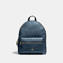 MEDIUM CHARLIE BACKPACK WITH LACQUER RIVETS - F38834 - DENIM/LIGHT GOLD