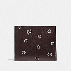 COACH F38835 - 3-IN-1 WALLET WITH SPIKY DIAMOND PRINT OXBLOOD MULTI/BLACK ANTIQUE NICKEL