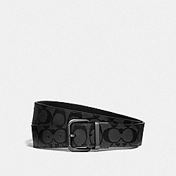 COACH F38838 Dapped Coach Roller Cut-to-size Reversible Belt In Signature Canvas TAN/BLACK ANTIQUE NICKEL