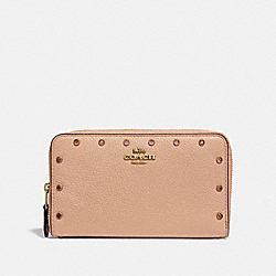 COACH F38868 Medium Zip Around Wallet With Crystal Rivets NUDE PINK/BRASS