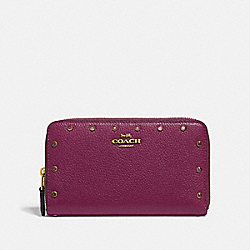 COACH F38868 Medium Zip Around Wallet With Crystal Rivets DARK BERRY/BRASS