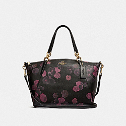 SMALL KELSEY SATCHEL WITH HALFTONE FLORAL PRINT - F38874 - BLACK/WINE/LIGHT GOLD