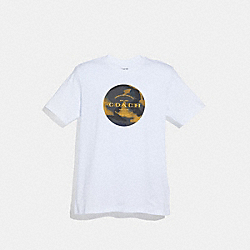 COACH F38885 Mixed Camo T-shirt WHITE/GREY/FLAX