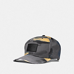 COACH F38887 Mixed Camo Flat Brim Hat GREY FLAX CAMO