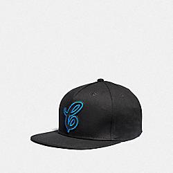 COACH F38892 Neon Flat Brim Hat BLACK/NEON BLUE