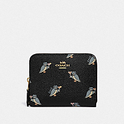 COACH F38905 Small Zip Around Wallet With Party Owl Print GD/BLACK