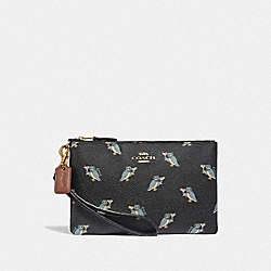 COACH F38924 - SMALL WRISTLET WITH PARTY OWL PRINT BLACK/GOLD