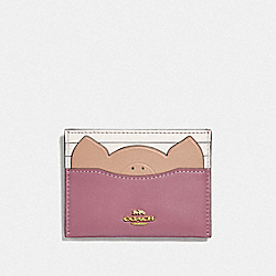 COACH F38925 Card Case With Pig GD/ROSE