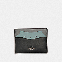 COACH F38926 - CARD CASE WITH OWL BLACK/GUNMETAL