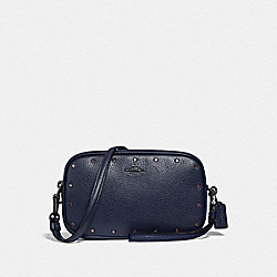 SADIE CROSSBODY CLUTCH WITH CRYSTAL RIVETS - F38931 - CADET/GUNMETAL