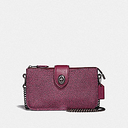 COACH F38934 - TURNLOCK CROSSBODY IN COLORBLOCK METALLIC BERRY MULTI/GUNMETAL