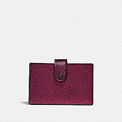 COACH F38936 - ACCORDION CARD CASE IN COLORBLOCK METALLIC BERRY MULTI/PEWTER