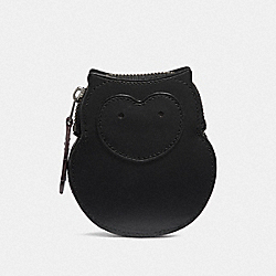 COACH F38943 - OWL COIN CASE BLACK/PEWTER