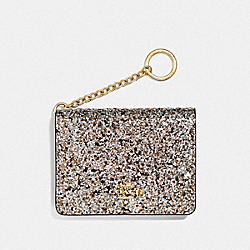 COACH F38945 Key Ring Card Case GD/PLATINUM